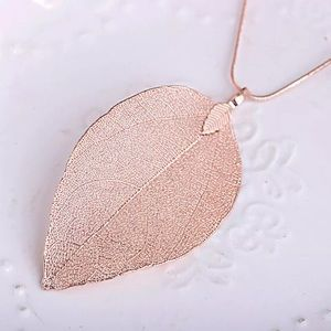Rose gold leaf necklace